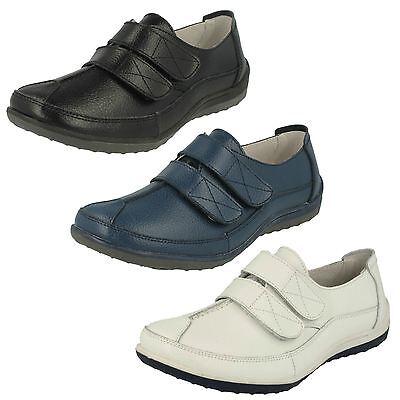 mujer Down To Earth gancho y lazo Zapatos de cuero F3097