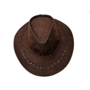 Neu-Erwachsene-Brown-Zylinder-Kostuem-Cowboy-Unisex-Wildleder-Optik-Wild-West