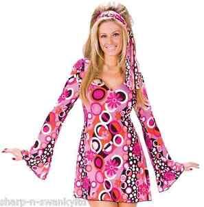 check out 000f8 599a1 Dettagli su Donna Sexy 1960s Anni 70 Feeling Groovy Hippy da Ragazza  Costume Vestito 8-18