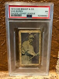 1910 E99 Bishop & Co Van Buren PCL PSA 1 Sacramento Centered Pop 3/1^ New Holder