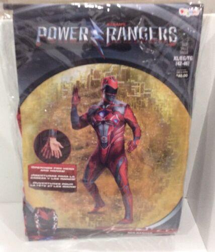 Mens RED Power Ranger Costume XL 42-46  Bodysuit Disguise Halloween Cosplay