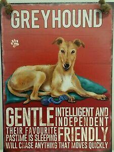 GREYHOUND ( FAWN ) ~  DOG BREED METAL SIGN~ MEDIUM  ~ NEW