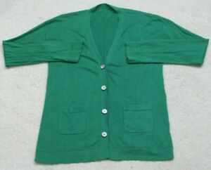 XL-Unbranded-Cotton-Long-Sleeve-V-Neck-Women-039-s-Woman-039-s-Cardigan-Sweater-Green