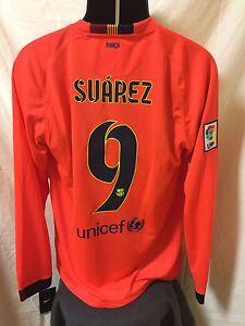wholesale dealer c7077 49afe Details about Nike Barcelona Long-Sleeve Away Jersey 14/15 (Men's Size  Large) *Suárez #9* Pink
