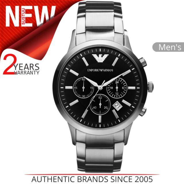 Emporio Armani Men's Watch AR2434│Chronograph Black Dial│Silver Bracelet Band