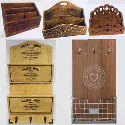 Large Wooden Freestanding Desk Letter Rack Organiser With Drawer-White New