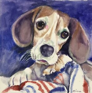 Orig-watercolor-painting-by-artist-Zina-Andresini-Poliszuk-034-Clementine-Beagle