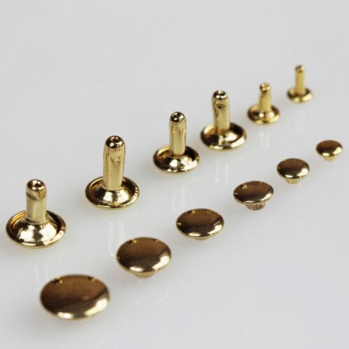 50x Laiton Double CAP Rivet Rivets Rapide Snap Rivets Leather Craft DECOR Réparation