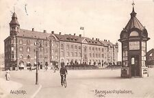 AALBORG DENMARK DANEMARK BANEGAARDSPLADSEN POSTCARD c1911