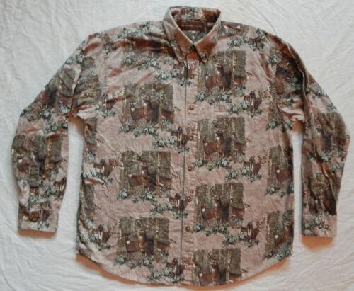 Deer Bucks Button Down Shirt - XL Mens Beige Brown