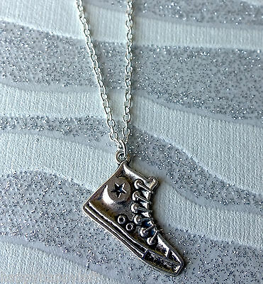 Details about Funky CONVERSE Silver Shoe Ladies Men Necklace Pendant Chain Rock Emo Cool Gift
