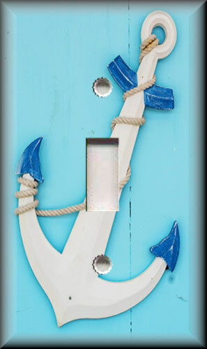 Wood Anchor On Blue Coastal  Decor Nautical Metal Light Switch Plate Cover
