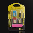 Regular 5 IN 1 Nano SIM Card to Micro Standard Adapter Converter Set for iPhone