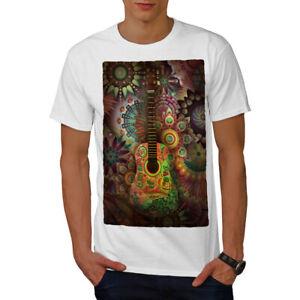 Wellcoda-Colorful-Guitar-Mens-T-shirt-Music-Graphic-Design-Printed-Tee