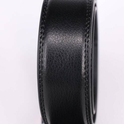 Men/'s Gift Leather Luxury Automatic Ribbon Waist Strap Belt Without Buckle Black