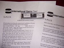 IGT S S-plus Slot Machine RAM & BV Bill Validator Clear Set Chips &instructions