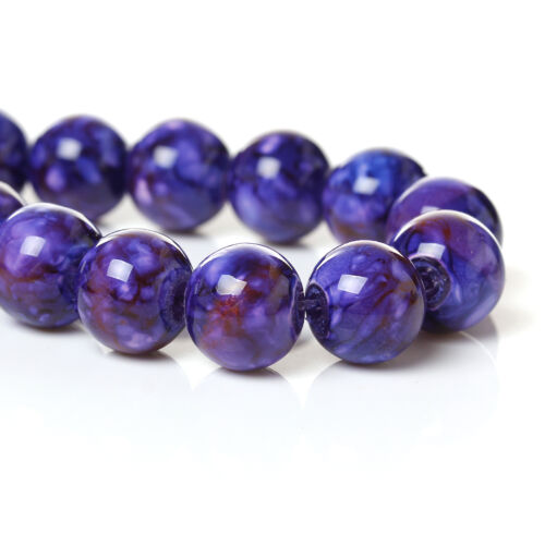 One Strand Purple Marbled Glass 10mm Beads 1.7mm Hole J48746XE 82 Beads Approx