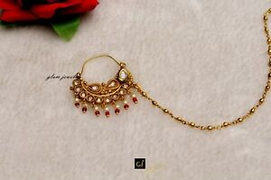 a3452e1aaf8 Details about Gold Pierced Nose Ring Chain Nath Bridal Nose Ring/Indian  Nose Hoop Jewelry