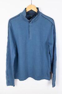 Hugo-Boss-Piceno-01-Men-Jumper-Regular-Fit-Blue-Cotton-Mock-Neck-Pullover-size-M