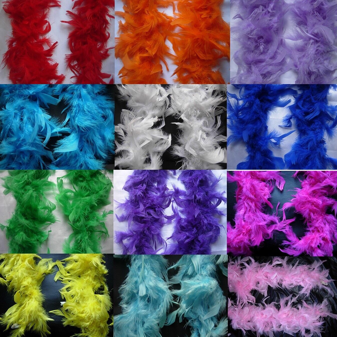 2M White Pink..Feather Boa Hen Night Parties Fancy Dress Christmas Tree Ribbon