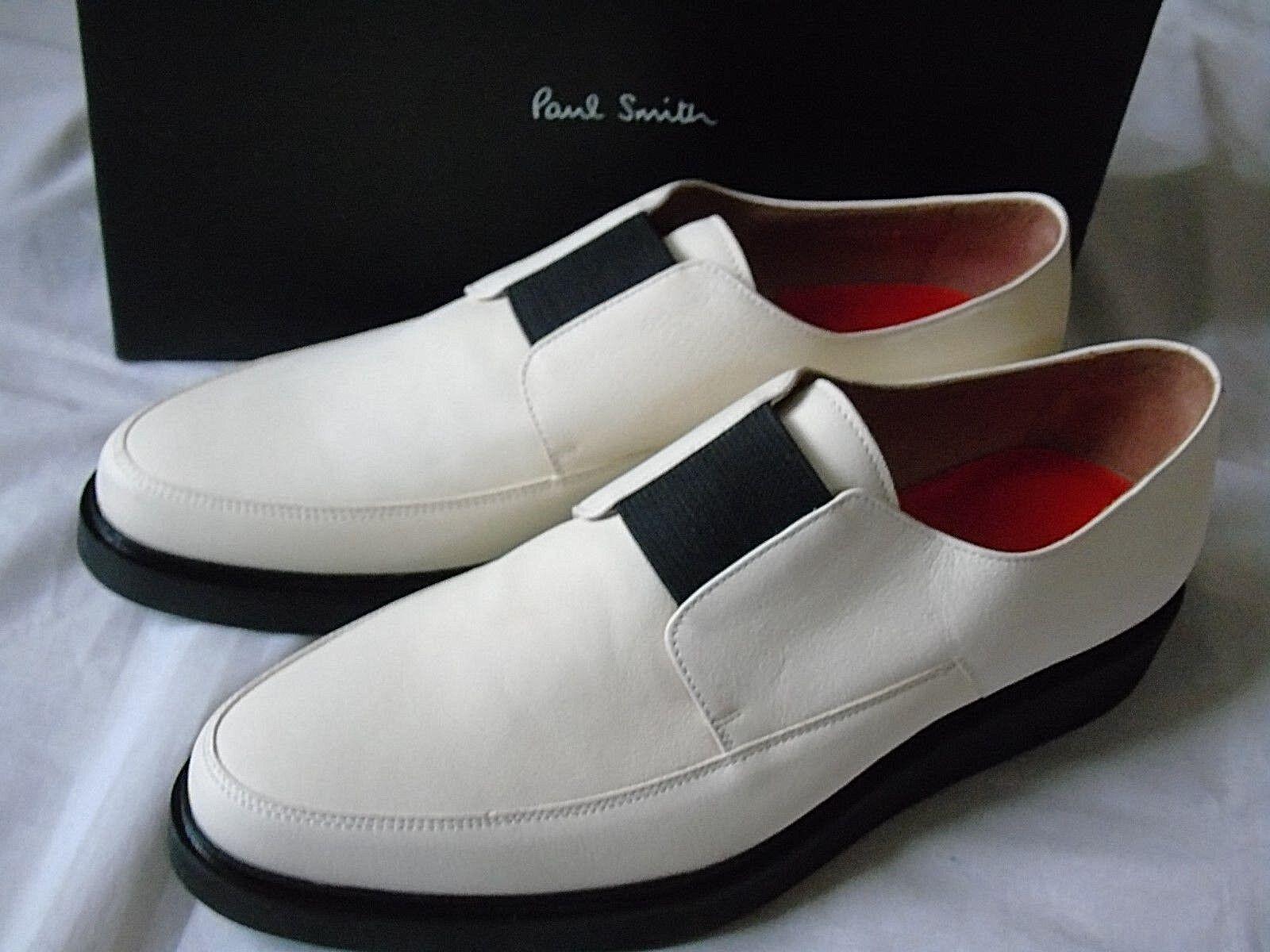 PAUL SMITH SMART LEATHER DESIGNER IVORY LEATHER SMART SLIP -ON Schuhe UK 10 (EU 44) US 11 ac4205