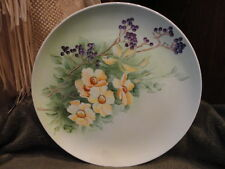Caryl Miller Hand Painted Plate Porcelain Floral Decorative 10 in Wide Vintage
