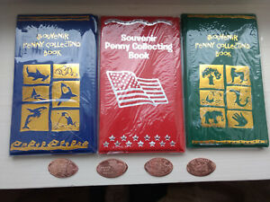 3-Different-Elongated-Penny-Souvenir-Books-With-4-FREE-PRESSED-PENNIES-NEW