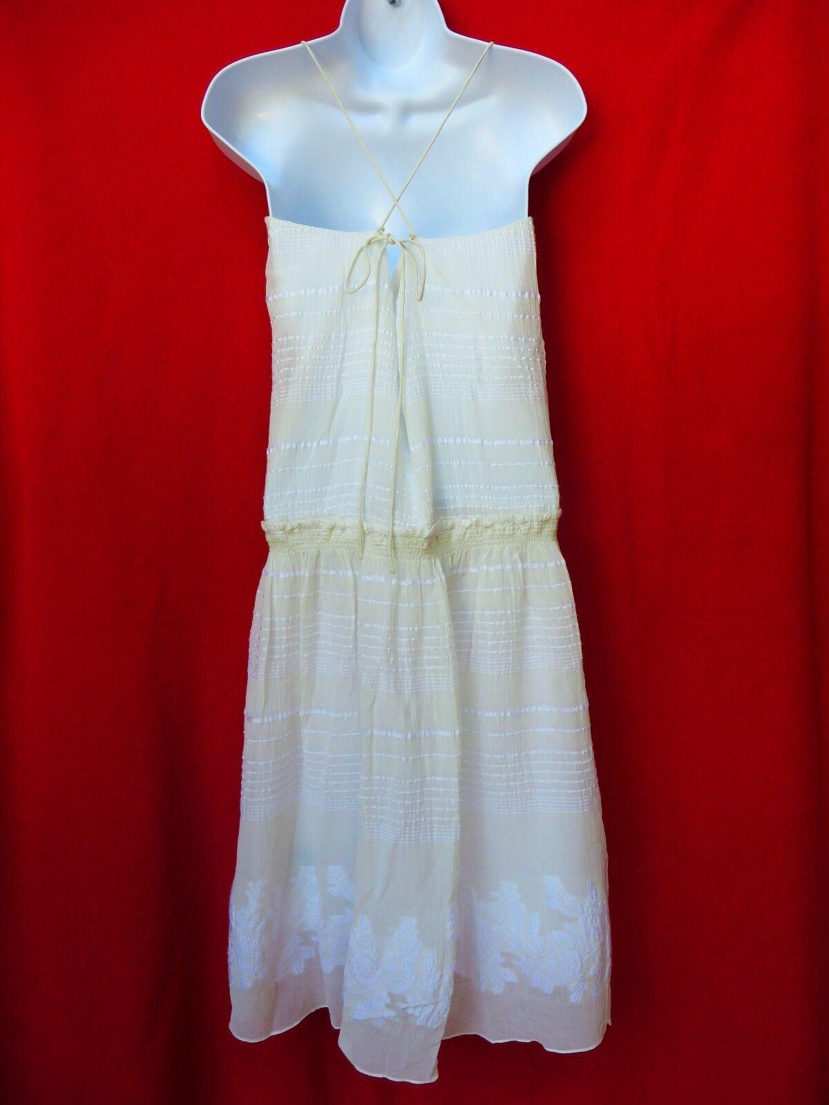 TIBI Womens Off White White White Cream Floral Embroidered Peasant Boho Cotn Silk Dress 2 XS 2a7ac7