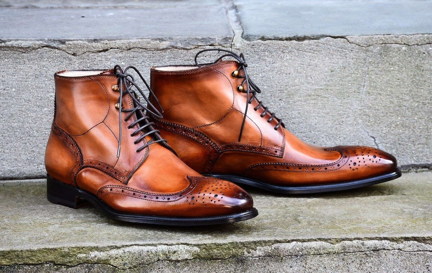 Hand Stitched Men Lace Up Classic boots, Brogues Designer Leather boots, Classic online boots 2a37a2