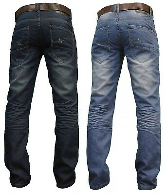 Crosshatch Mens Denim Jeans New Straight Fit Faded Zip Fly Sale Waist Size 30-38 Let Our Commodities Go To The World Clothing, Shoes & Accessories
