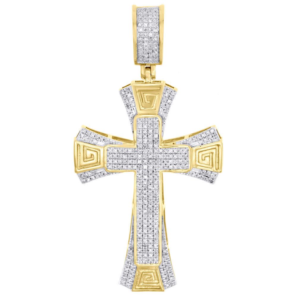 10K Yellow gold Diamond Cross Designer Tier Pendant 2  Men's Pave Charm 0.51 CT.