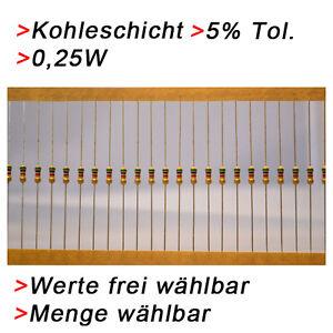 Kohleschicht-Widerstaende-0-25W-5-Werte-und-Menge-WAHLBAR-5-10-50-100-Widerstand