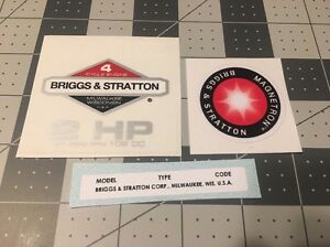 Briggs & Stratton 2-hp 1981-86 Shroud Labels Decals set of 3 Magnetron