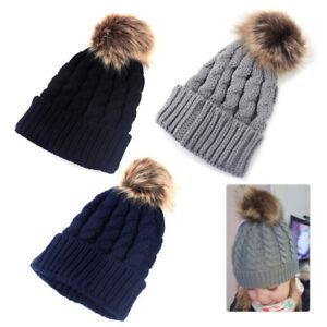 Children Kids Baby Boy Winter Knitted Cap Faux Fur Pom Ball Wool ... 1e9de9b0632a