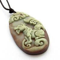 Happy Lucky Chinese Zodiac Dog Money Two Layer Natural Stone Amulet Pendant