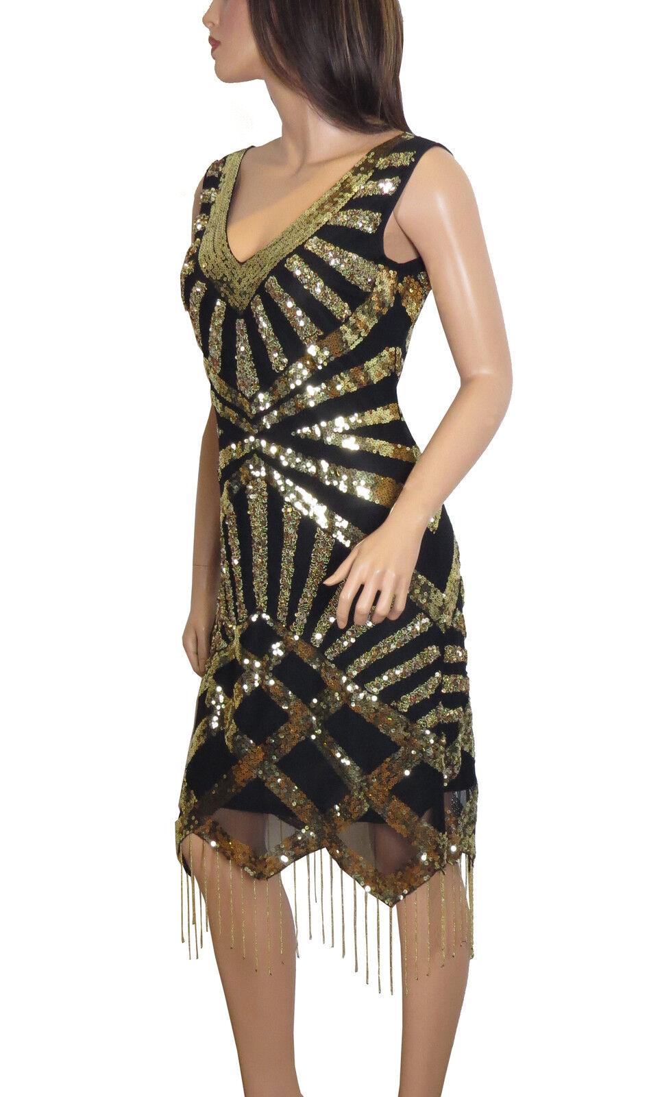1920's Gatsby Flapper golden Deco Frindge hem Embellished Dress 8 to  PLUS SIZES