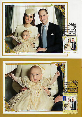 Australia 2014 MAXI Royal Christening Baby Prince George 2v Maximum Cards Set