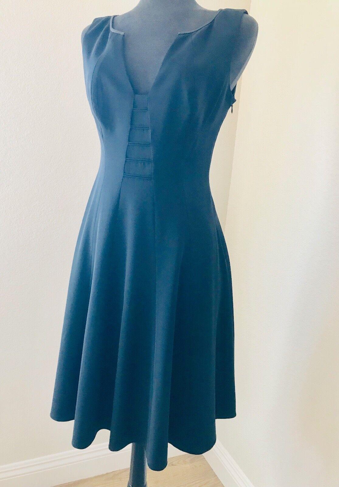 ELIE TAHARI Stretch Wool Sleeveless V-Neck Seamed Front Dress -Größe 8- schwarz