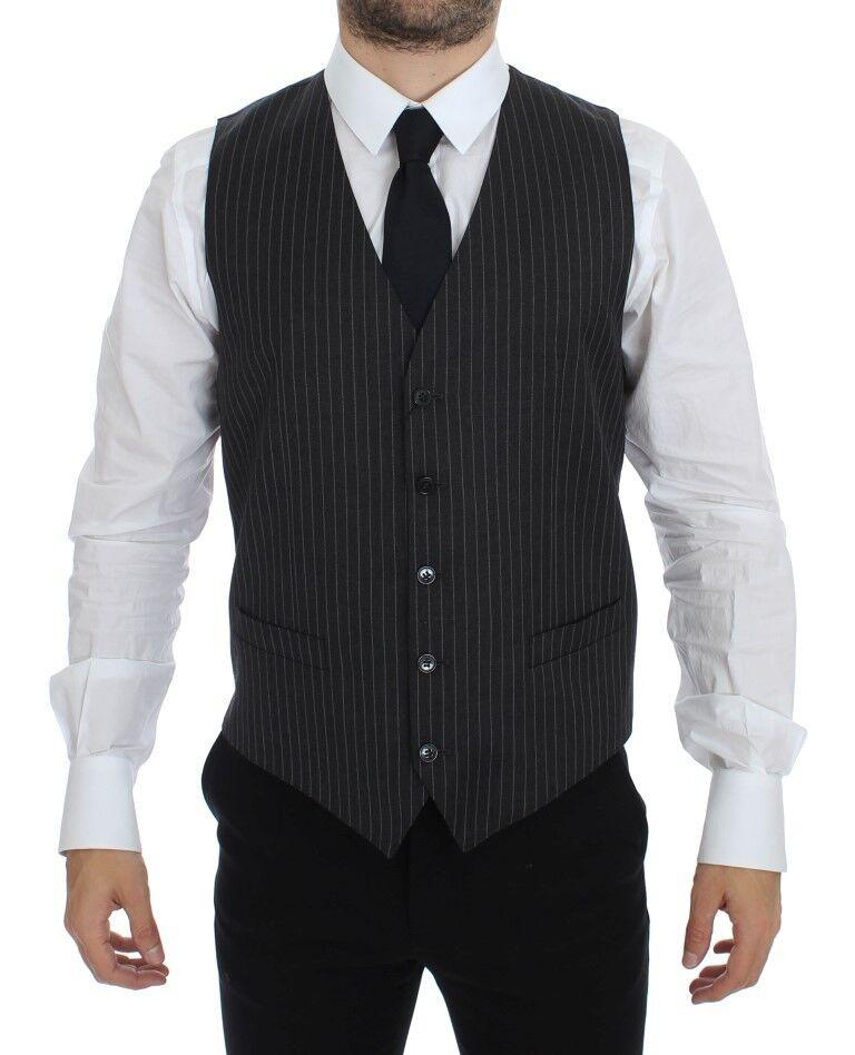 NWT 500 DOLCE & GABBANA grau Striped Wool Single Breasted Vest IT48 / US38 / M