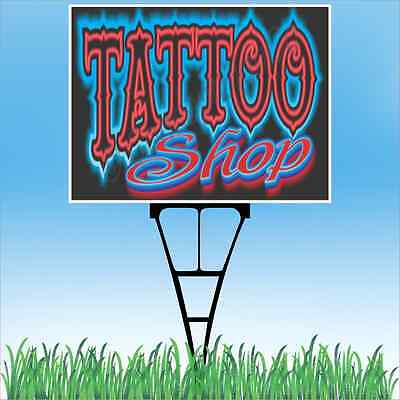 4/'X10/' TATTOO BANNER XL Outdoor Sign Neon Look Tattoos Ink Piercings Shop BIG