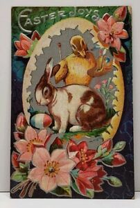 Easter-Chick-Painting-Egg-Bunny-Silver-Finish-In-Egg-Embossed-Postcard-F20