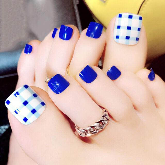 24pcs blue 3d false toe nails french toe nail art tips acrylic fake  N Bh