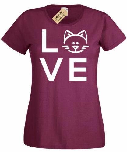 Womens Love Cat T-Shirt Kitten Animal T Shirt ladies top gift