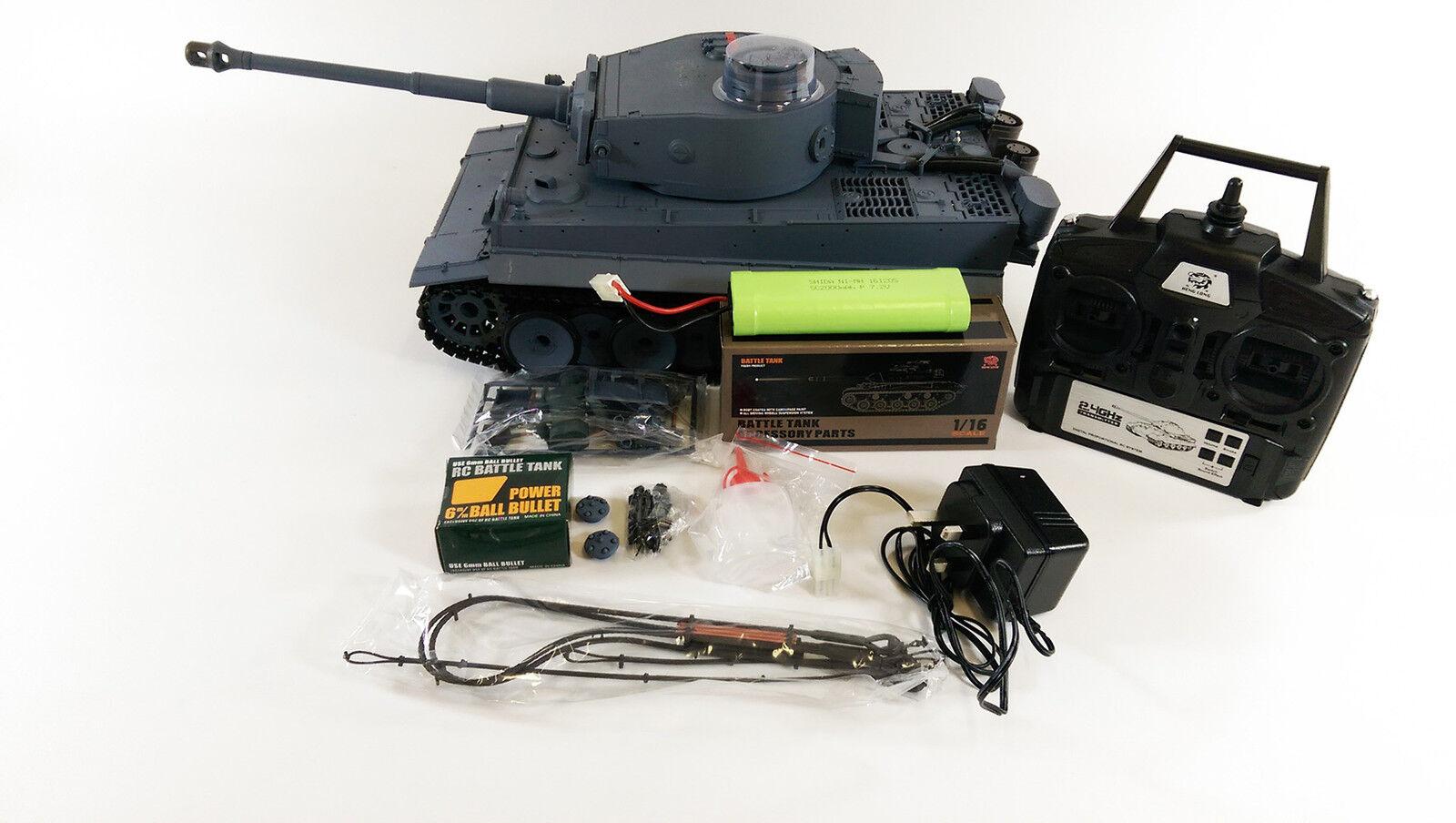 2.4ghz Heng Long 1 16 Tiger 1 FUMO German SUONO radiocomando ESERCITO GUERRA CARRO ARMATO