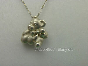 6959d4374 Tiffany & Co Teddy Bear & Bow Ribbon Pendant Chain Necklace Sterling ...