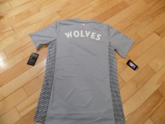 Size XL Nike Mens Short Sleeve Shirt Silver NBA Minnesota Timberwolves  AH5964 5104ff951