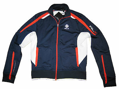 RLX Ralph Lauren Navy Blue White Orange Polo Track Jacket Athletic Coat M