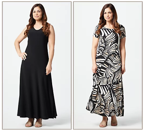 Attitudes-by-Renee-Como-Jersey-Set-of-2-Maxi-Dresses-Black-Safari-Petite-Small