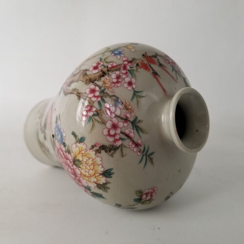 Chinese old  porcelain Pastel  Flowers and Birds Phoenix Vase