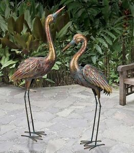 Exceptionnel Image Is Loading Copper Patina Crane Pair Metal Garden Statues Bird